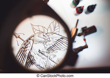 Magnifying glass and scetch - Look through the magnifying...