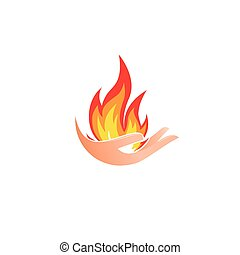 Isolated abstract fire logo. Flame in hand logotype. Hot palm icon. Heat sign. Flammable symbol. Vector illustration.
