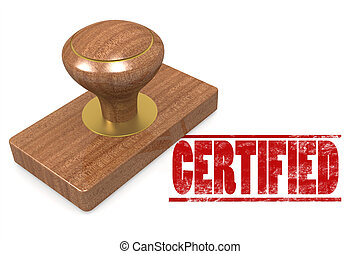 Red certified wooded seal stamp