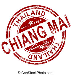 Red Chiang Mai stamp with white background, 3D rendering
