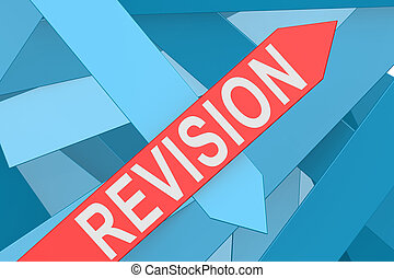 Revision arrow pointing upward - Revision word on red arrow...