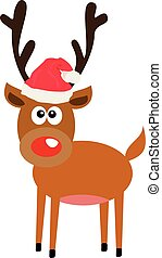 red nose - vector reindeer with red nose