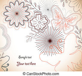 Hand-Drawn floral ornament. Vector - Hand-Drawn Colorful...