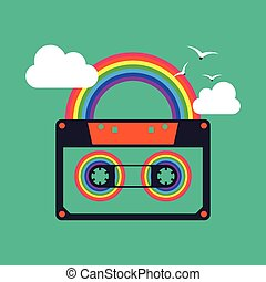 Colorful music rainbow tape cassette abstract background