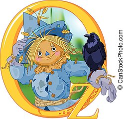 Scarecrow and Crow. Wizard of Oz illustration