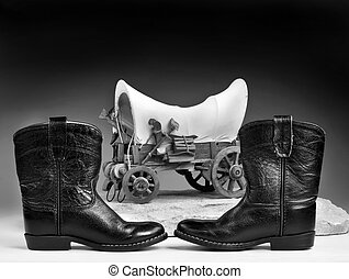 Cowboy boots and toys. - Kids cowboy black boots and chuck...