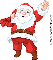 Santa Claus - Illustration of personable Santa Claus waves