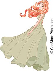 Girl in the Wind - Beautiful girl in gown dress waving on...