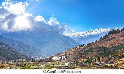 landscape of mountain and valley country,Thimphu city in...