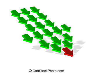 leadership - 3d render of arrows showing leader and...