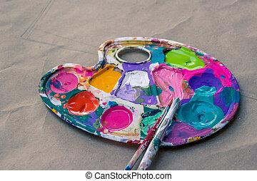 調色板, 刷子, 藝術, 畫