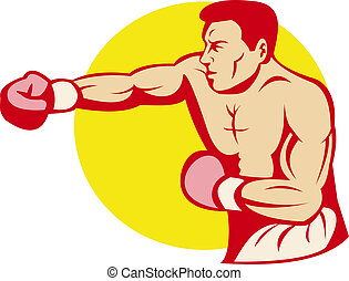 boxer or fighter punching - illustration of a boxer or...