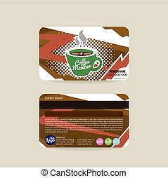 Front And Back Coffee Voucher Of Member Card Template Vector...