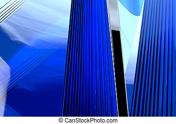 Abstract blue glass background 3d rendering of computer...