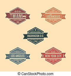 Set hexagonal emblem with the name of US cities, vector illustration.
