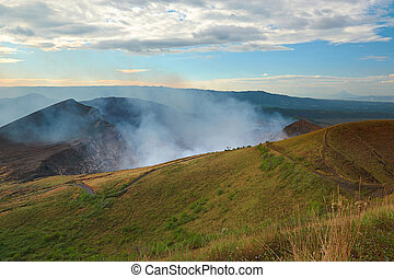 active volcano crater with smoke in masaya nicaragua