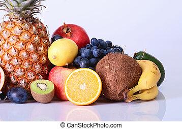 Many fresh colorful fruits