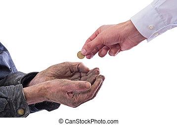 beggar - A beggar receiving money from a kind man? Isolated...