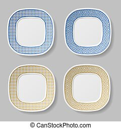 squared ornamental plates - illustration for the web