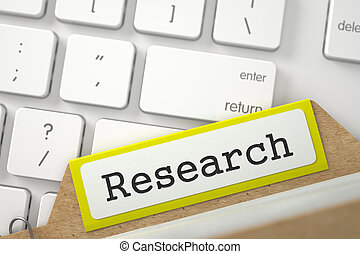 File Card with Research. 3D. - Research. Yellow Folder...