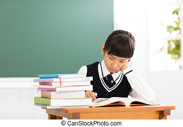 Stressed Student Of High School studying in classroom