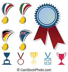 Awards in the form of medals and cups. A vector illustration