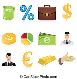 Icons on business a theme. A vector illustration