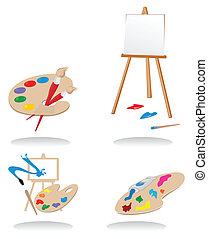 Icons of sets for artists. A vector illustration