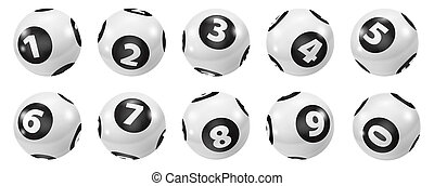 Set of Lottery Black and White Number Balls 0-9 - Lottery...
