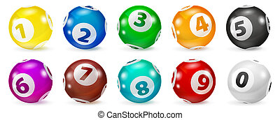 Set of Lottery Colored Number Balls 0-9 - Lottery Number...