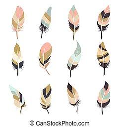 Boho style feather set isolated on white background. Vector...
