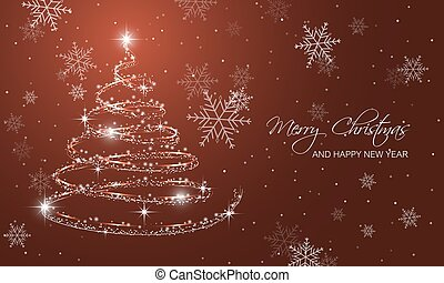 Christmas greeting card with christmas tree, snowflakes and...