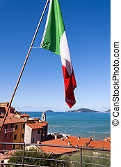 Italian Flag in the Gulf of La Spezia Italy