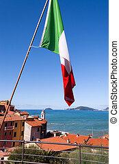 Italian Flag in the Gulf of La Spezia Italy - National...