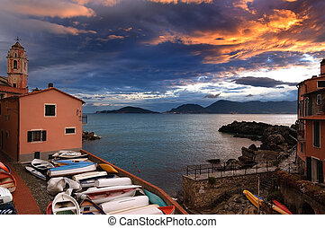 Sunset in Tellaro Village - Liguria Italy - Sunset in the...