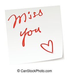 miss you - love note with \\\'miss you\\\' message