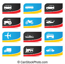 Icons of different types of transport. A vector illustration