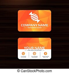 Candy icon. Sweet food sign. - Business or visiting card...