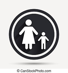 One-parent family with one child sign icon. Mother with son...