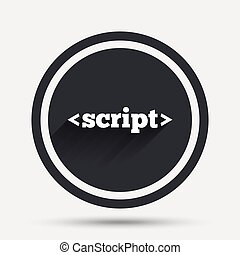 Script sign icon. Javascript code symbol. Circle flat button...