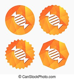 Candy icon. Sweet food sign. Triangular low poly buttons...