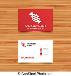 Candy icon. Sweet food sign. - Business card template. Candy...
