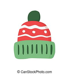 Winter hat icon - Knitted red cap, Winter hat icon. Vector...