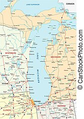lake michigan map - Detailed road map of North American Lake...