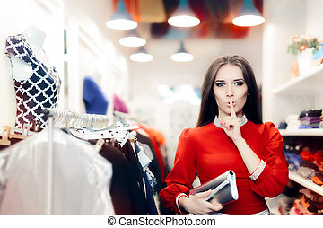 Elegant Woman Keeping a Secret in Fashion Store - Cool...