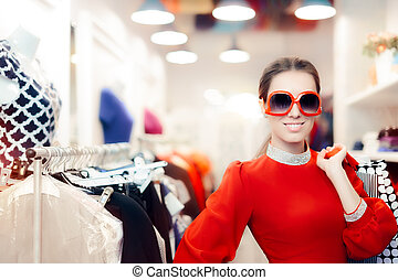Elegant Woman with Big Sunglasses and Shopping Bags -...