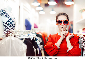 Shopping with Big Sunglasses Woman Keeping a Secret - Cool...