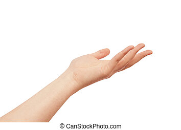 Asking human hand isolated on white background