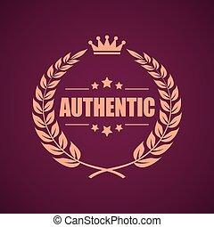 Authentic product laurel emblem vector illustration