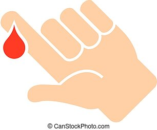 Finger with blood drop